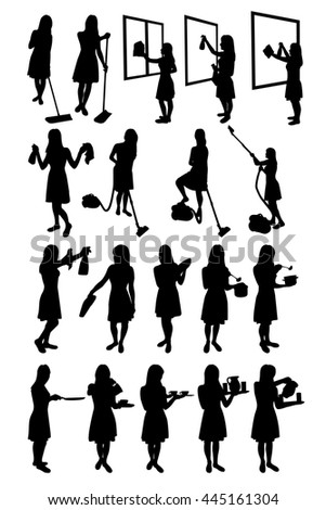 Housewives and Maids vector silhouettes doing different cleaning or serving jobs