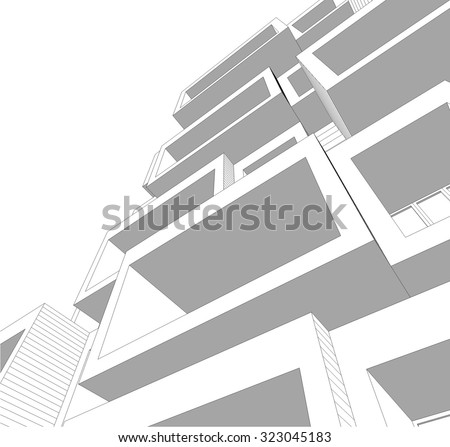 Housing architecture building. Vector background