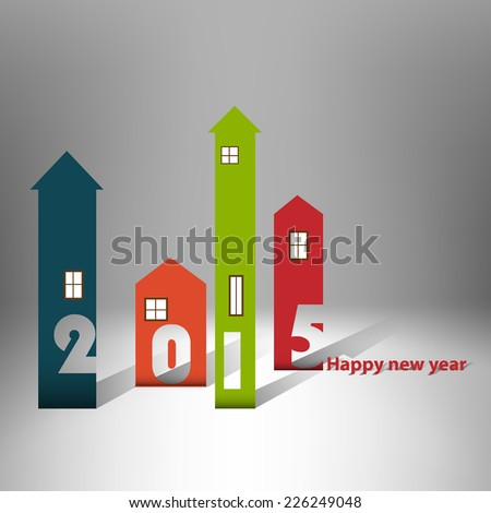 Housing background happy new year 2015 - stock vector