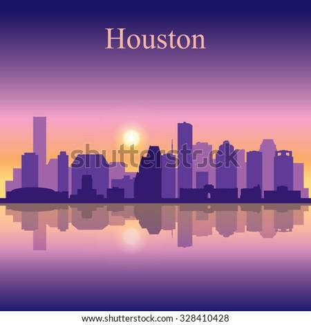 Houston city skyline silhouette background, vector illustration - stock vector