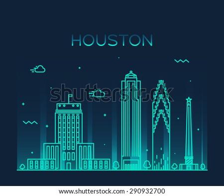 Houston skyline, detailed silhouette. Trendy vector illustration, linear style. - stock vector