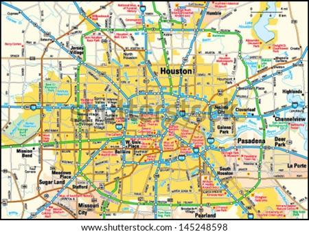 Houston, Texas area map - stock vector