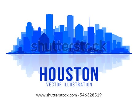houston texas silhouette vector illustration main buildings panorama tourism and business picture with city