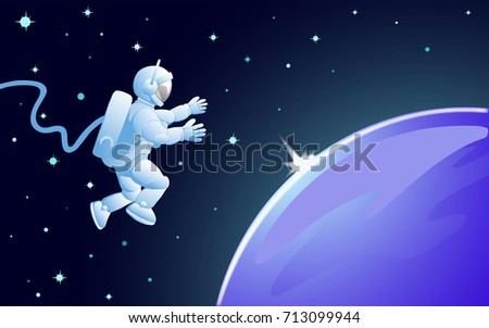 Hovering above the planet in zero gravity cosmonaut