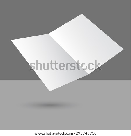 Hovering blank two fold paper brochure on gray background. Open magazine. Cover for your design - stock vector