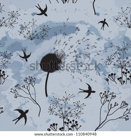 Hovering swallows , dry flowers  and cloudy sky in sketch seamless composition - stock vector