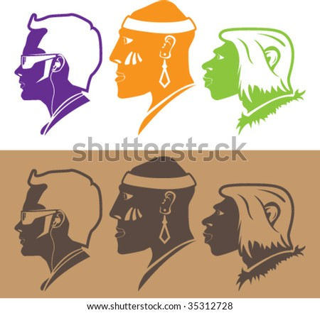 How Humans Evolved. Humanoids from History - stock vector