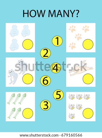 How Many Kids Game Kitty Educational Stock Vector 679160566 ...