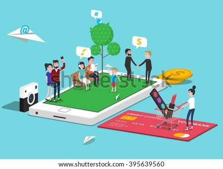 How people use mobile, smart phone. Infographic elements. Isometric. Vector illustration. - stock vector