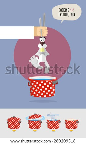 How to cook soup from rabbit fur. Cook's hand holding a rabbit over a saucepan. Vector illustration