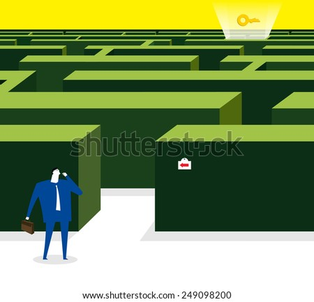 How to got the key in maze garden - stock vector