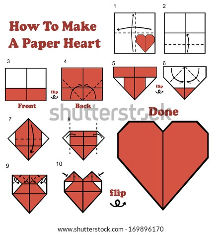 Origami heart stock images royalty free images vectors - How to make paper love hearts ...
