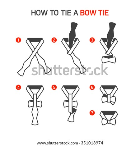 How to Tie a Bow Tie instructions. Vector. - stock vector