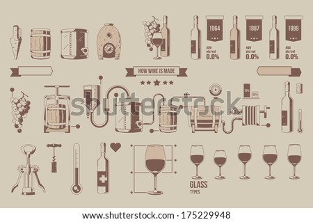 how wine is made,wine elements, outline info graphic - stock vector