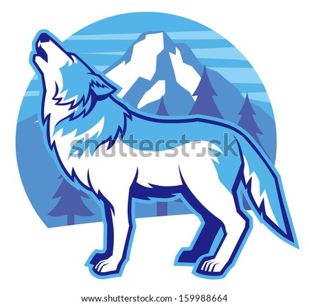 howling wolf - stock vector