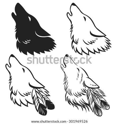 Howling Wolfs Head Hand Drawn Vector Stock Vector 301969526 ...