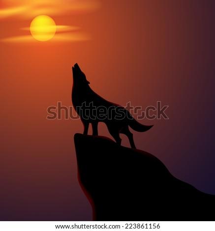 howling wolf vector stock vector 223861156 - shutterstock