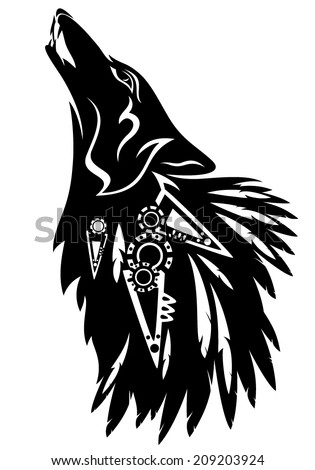 Howling wolf with traditional north american indian feather decoration black and white vector tribal design - stock vector