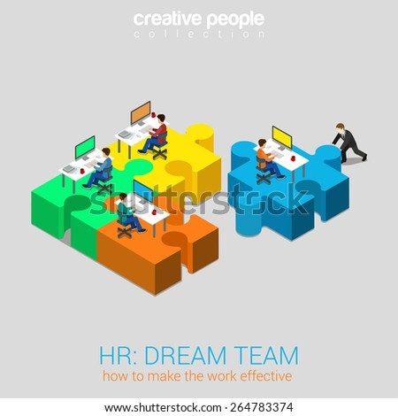 HR human relations dream team solution flat 3d web isometric infographic concept vector. Businessman pushing puzzle piece with company newbie workplace to the team. Creative people collection.  - stock vector