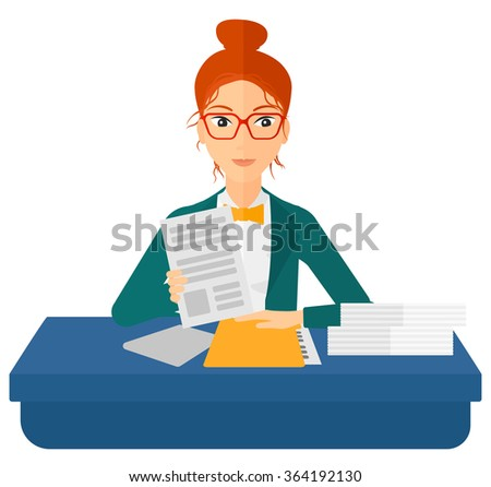 HR manager checking files. - stock vector