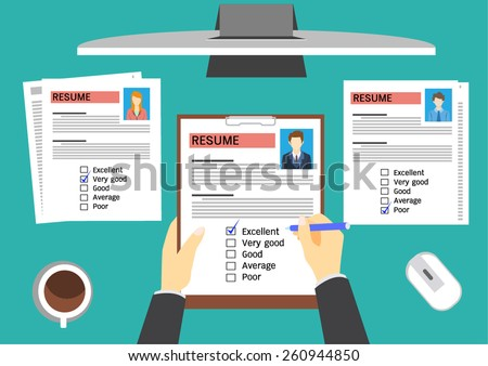 HR manager evaluating candidates. - stock vector
