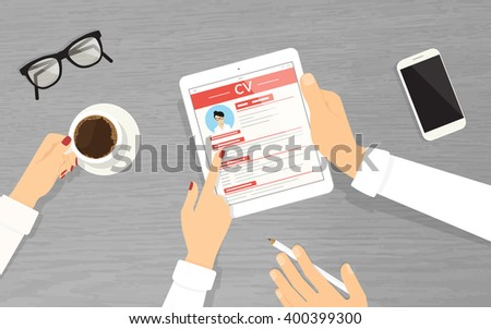 HR managers searching an employee using tablet pc in the office.  Employers are looking at the tablet pc display and reading new employer  cv. Top view with textured table, smartphone, glasses and - stock vector