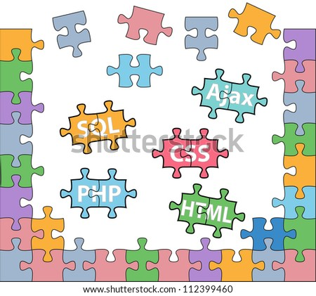 HTML PHP CSS SQL jigsaw puzzle pieces in internet web development solutions - stock vector