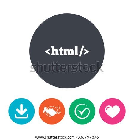 Html Sign Icon Markup Language Symbol Stock Vector 336797876