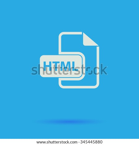 html White flat vector simple icon on blue background with shadow  - stock vector