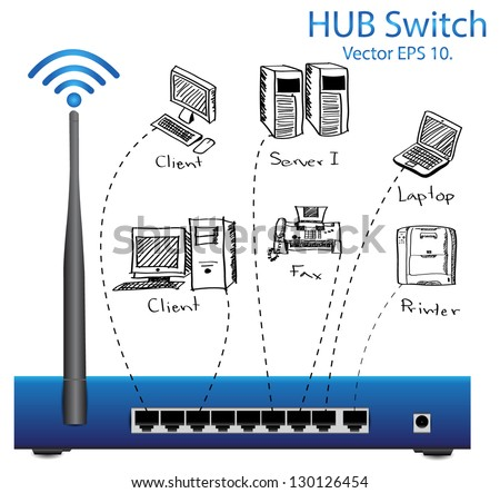 HUB Switch Router Vector Illustration, EPS 10. - stock vector