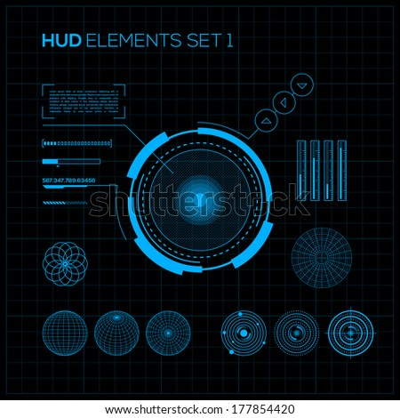 HUD and GUI set. Futuristic User Interface. - stock vector