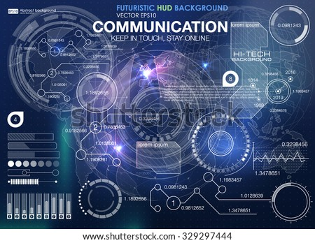 Set graphs charts statistic data information stock vector for Outer space stage design