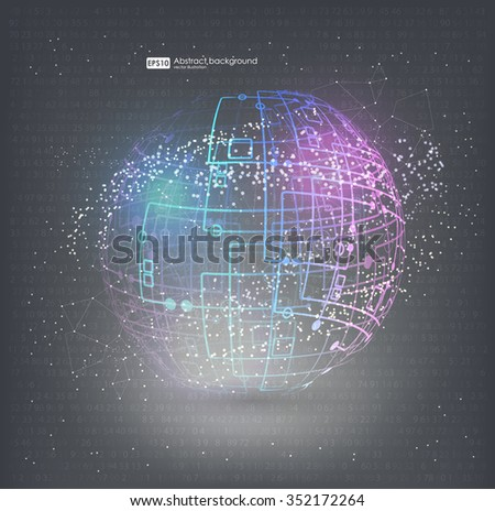 HUD elements for motion design. Connection structure molecules circle. Point and curve constructed the sphere wireframe, technological sense. Abstract background with connecting dots and lines. - stock vector