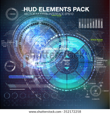 HUD elements for motion design. HUD background outer space. infographic elements. futuristic user interface. Vector science Polygonal background. Futuristic HUD background. Vector science background. - stock vector