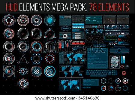 HUD Elements Mega Pack. 78 Elements. Sci Fi Futuristic User Interface. Menu Button. Vector Illustration. - stock vector
