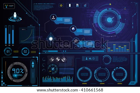 hud technology innovation screen interface template and elements design background - stock vector