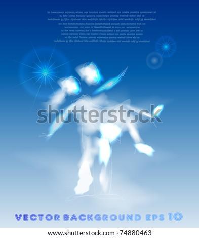 hug on heavens - stock vector