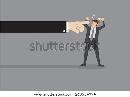 Huge arm from the side pointing index finger at angry business executive. Vector illustration for idiom finger pointing  - stock vector