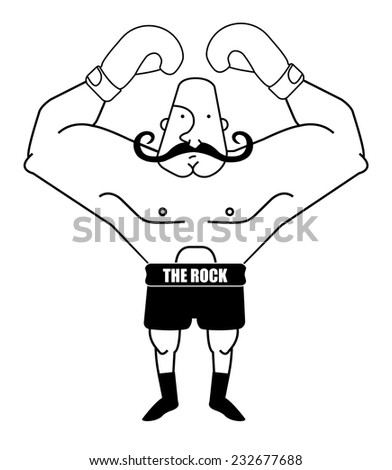 Huge, bald, retro style boxer. Black and white contour lines illustration isolated on white - stock vector