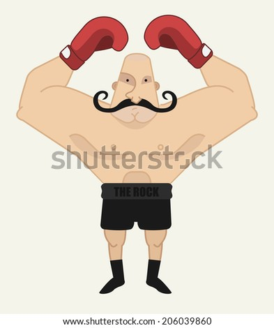 Huge, bald, retro style boxer in red gloves - stock vector