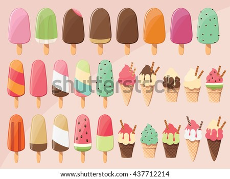 Huge collection of 28 delicious glossy tasty ice cream popsicles, scoops and cones, summer treat, vector illustration - stock vector
