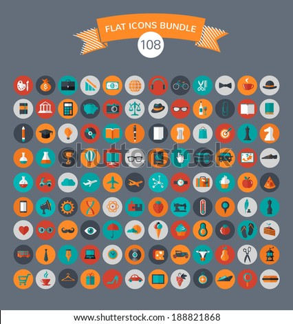 Huge collection of flat vector icons with modern colors of travel, marketing,  hipster ,science, education ,business ,money ,shopping, objects, food - stock vector