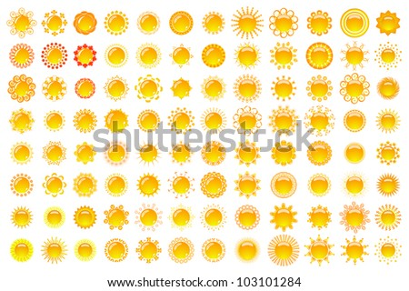 Huge collection of suns - vector - stock vector