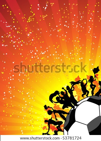 Huge Crowd Celebrating Soccer Game. Editable Vector Image - stock vector