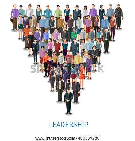 huge crowd of different casual people follow the leader, conceptual illustration - stock vector