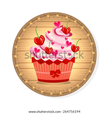 Huge cupcake with pink cream, cherries and small hearts - stock vector
