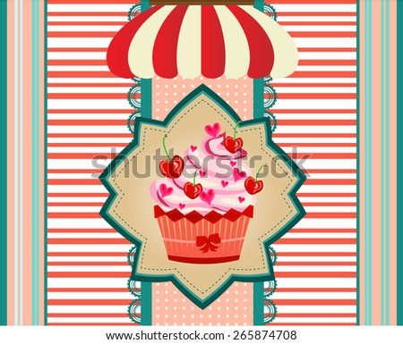 Huge cupcake with pink cream, striped awning - stock vector