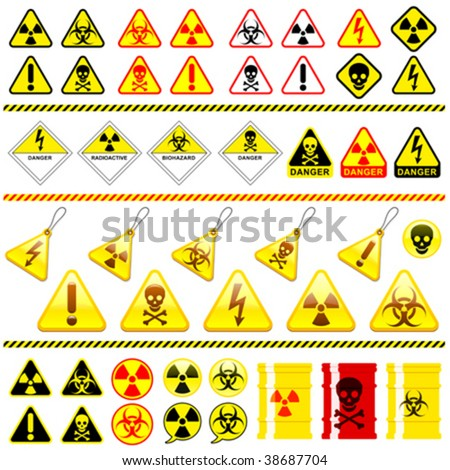 Huge danger symbol icon collection - vector - stock vector