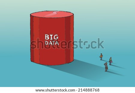 Huge database symbol dwarfs three people - big data concept. Hand drawn vector sketch isolated on blue background. - stock vector