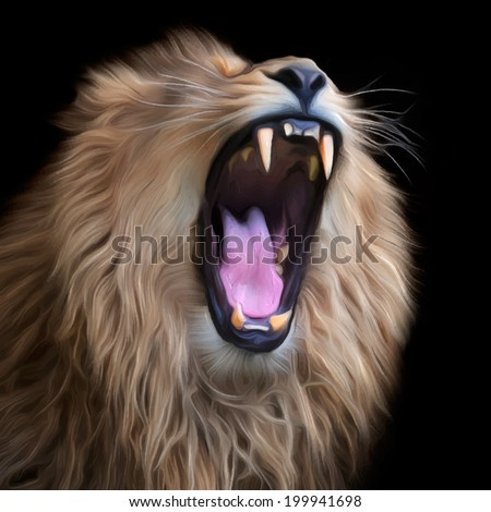 Huge fangs of Asian lion, isolated on black background. King of beasts, biggest cat of the world. The most dangerous predator of the world with open chaps. Square vector image in oil painting style. - stock vector